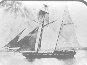 U.S. Revenue Cutter Gallatin, photographed in 1855, was active on the Southeastern coast at the time of the pirate attack.  Courtesy U.S. Coast Guard.